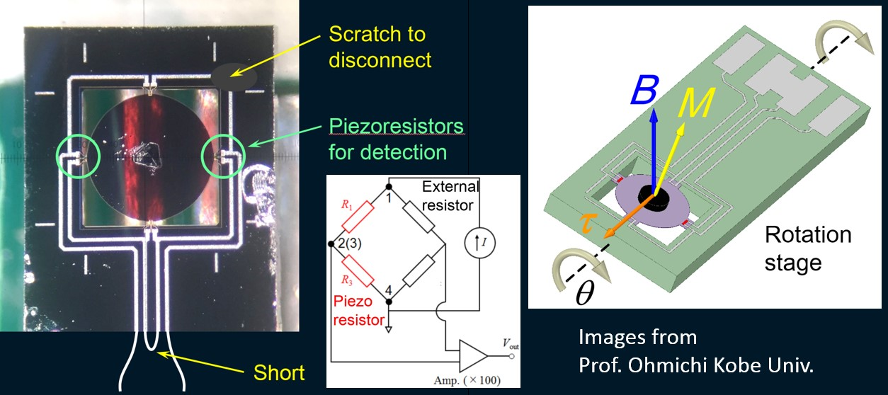 from magnetometry of microcrystals using a membrane piezoresistive sensor - NANOSENSORS MSS - graphics courtesy Professor Ohmichi Kobe University