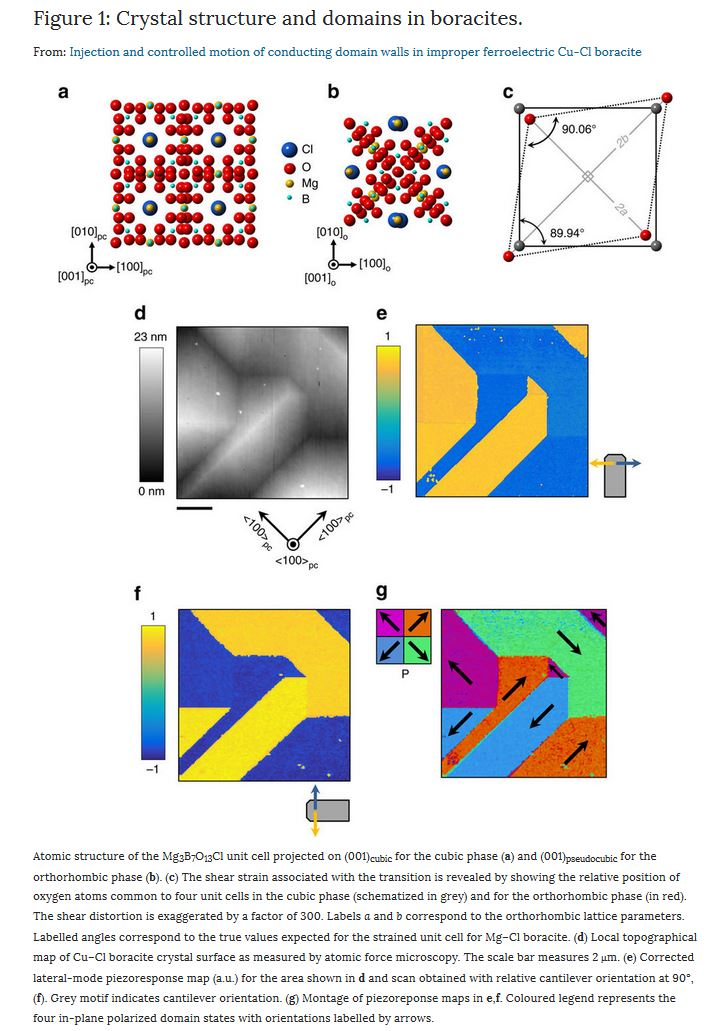 Figure 1: Crystal structure and domains in boracites. From: Injection and controlled motion of conducting domain walls in improper ferroelectric Cu-Cl boracite