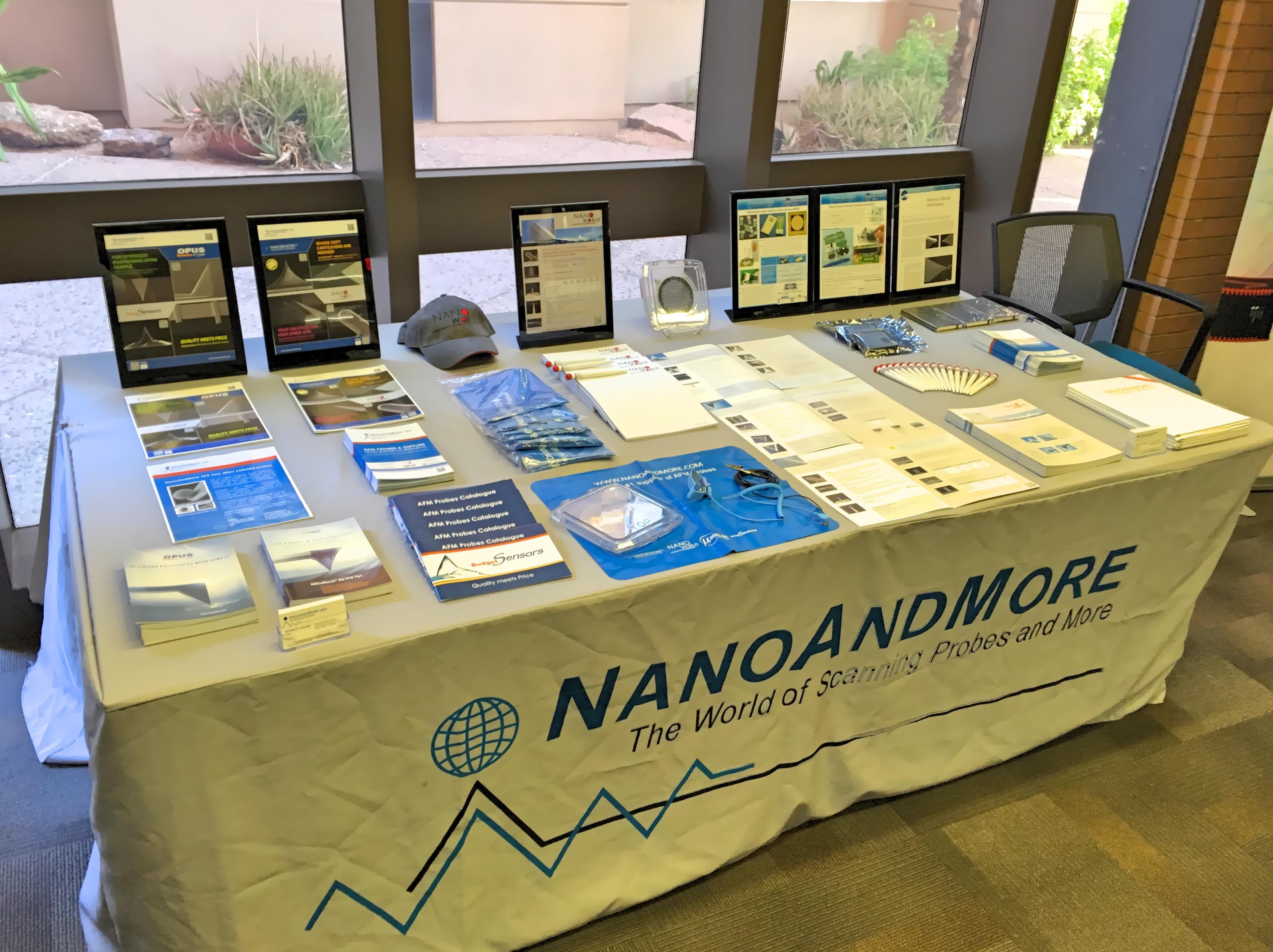 NanoAndMore USA table at the International Scanning Probe Microscopy 2018 conference at Arizona State University in Tempe Arizona