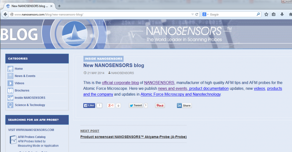 Screenshot from the new official corporate blog from NANOSENSORS with news, videos and product documentation.