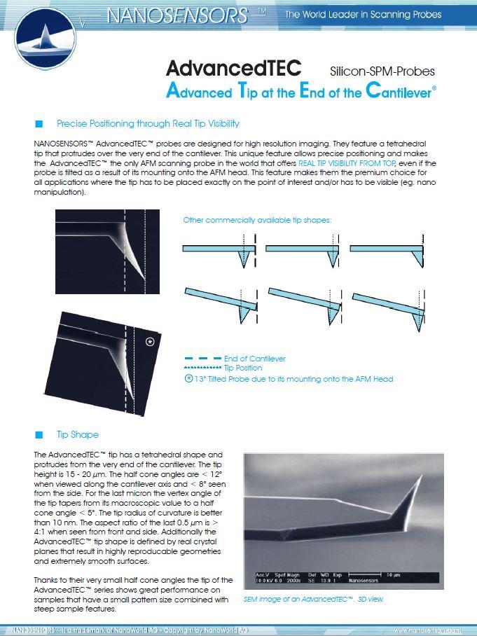 precise positioning through real tip visibility- NANOSENSORS AdvancedTEC ( ATEC ) tip view AFM tips