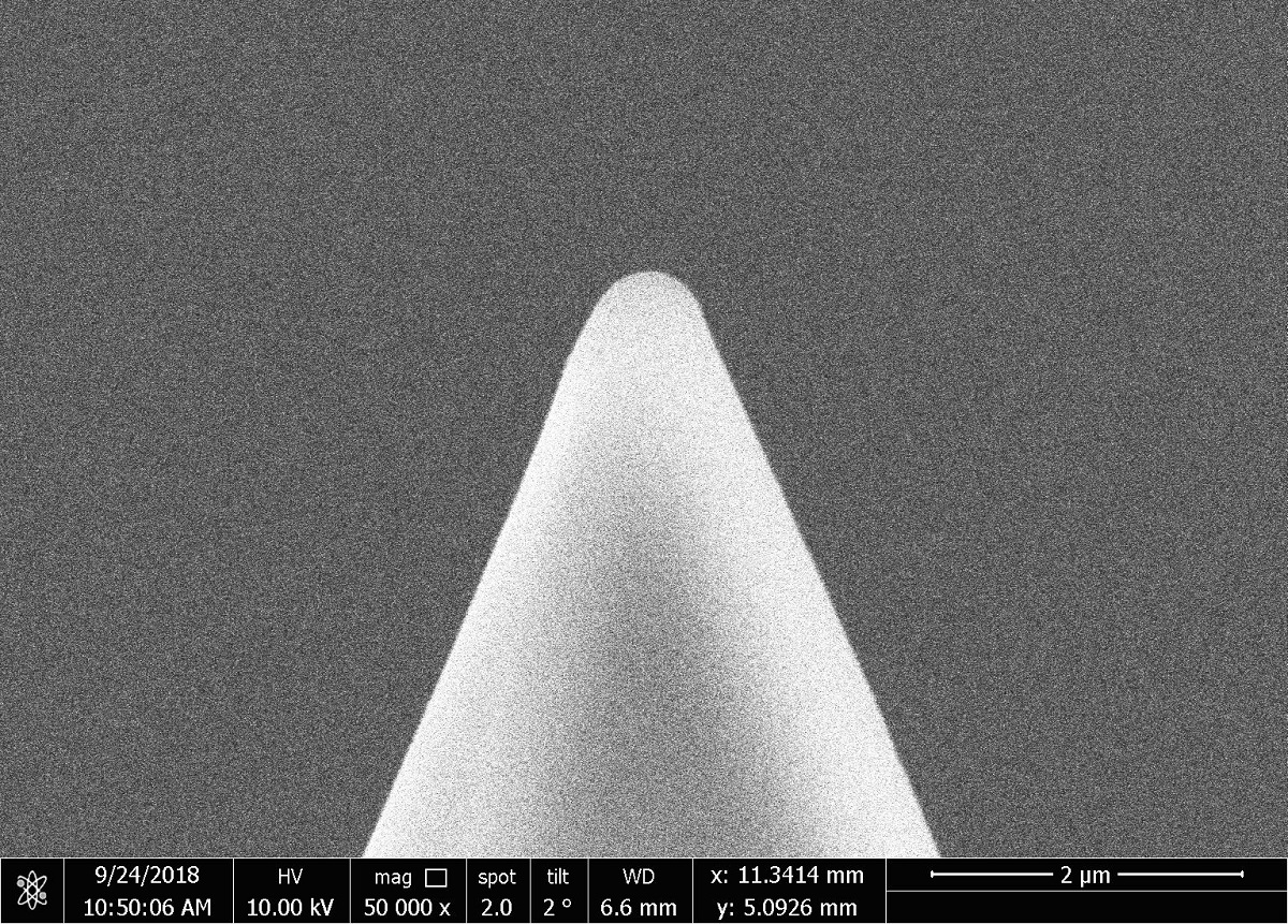 SEM image of a NANOSENSORS sphere tip  ( SD-Sphere-NCH-S ). NANOSENSORS Sphere tips are available in three different sizes: small ( typical diameter 0.8μm ), medium (  typical diameter 2.0μm ) and large ( typical diameter 4.0μm  )