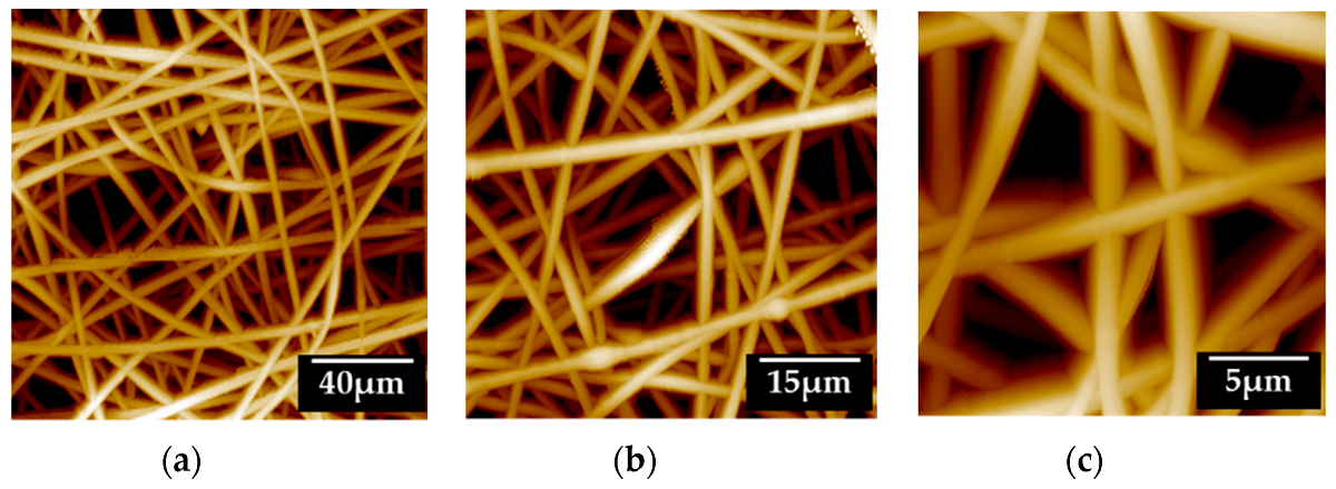 "Figure 3 from ""Development of a Lidocaine-Loaded Alginate/CMC/PEO Electrospun Nanofiber Film and Application as an Anti-Adhesion Barrier"" by Seungho Baek et al.: Morphological and surface characterization of the 9% (w/v) alginate/CMC/PEO nanofiber film. Analyses used the noncontact mode of atomic microscopy. (a–c) are the same films at different scales (scale bars 40 µm, 15 µm, and 5 µm)."
