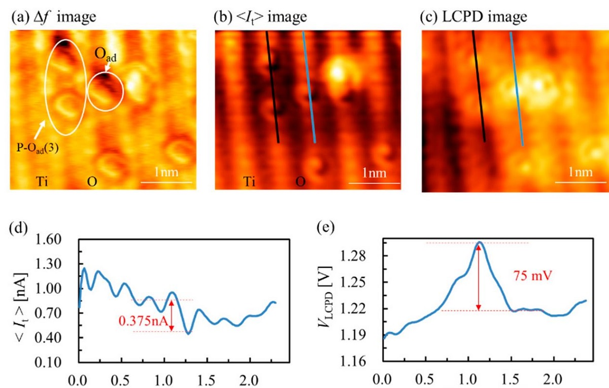 "Figure 5. from ""Multiple images of TiO2(110) surface with atomic resolution and corresponding line profiles"" by Huan Fei Wen et al. - Iridium coated NANOSENSORS SD-T10L100 AFM probes were used (a) Frequency shift (∆f) image, (b) tunneling current (<It>) image and (c) local contact potential difference (VLCPD) image. (d,e) The line profiles along the blue line on the surface in (b,c). (f0 = 805 kHz, Q = 27623, ∆f = −260 Hz, VDC = 1.3 V, VAC = 1.5 V, A = 500 pm, size: 3.5 × 3.2 nm2). Multiple images of TiO2(110) surface with atomic resolution and corresponding line profiles. (a) Frequency shift (∆f) image, (b) tunneling current (<It>) image and (c) local contact potential difference (VLCPD) image. (d,e) The line profiles along the blue line on the surface in (b,c). (f0 = 805 kHz, Q = 27623, ∆f = −260 Hz, VDC = 1.3 V, VAC = 1.5 V, A = 500 pm, size: 3.5 × 3.2 nm2)."
