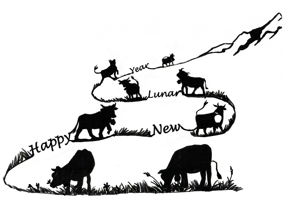 NANOSENSORS wishes you all a happy and successful year of the cow. Shiloutte of of 8 cows climbing up a mountain.